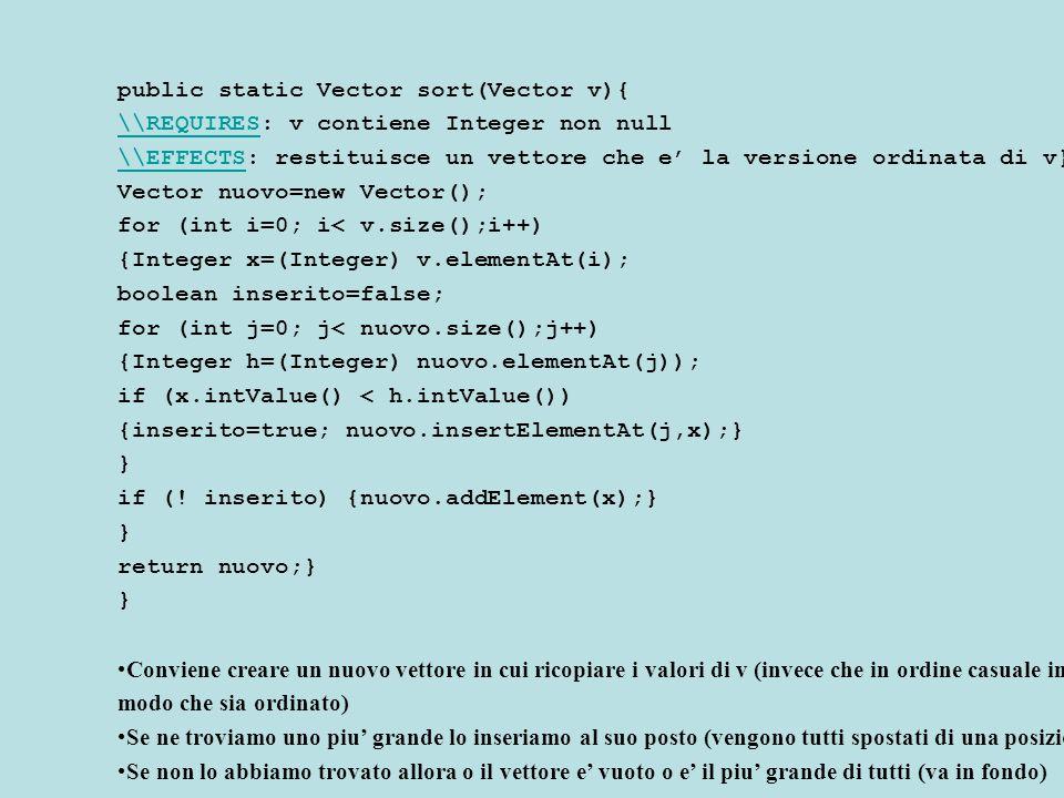 public static Vector sort(Vector v){ \\REQUIRES\\REQUIRES: v contiene Integer non null \\EFFECTS\\EFFECTS: restituisce un vettore che e' la versione ordinata di v} Vector nuovo=new Vector(); for (int i=0; i< v.size();i++) {Integer x=(Integer) v.elementAt(i); boolean inserito=false; for (int j=0; j< nuovo.size();j++) {Integer h=(Integer) nuovo.elementAt(j)); if (x.intValue() < h.intValue()) {inserito=true; nuovo.insertElementAt(j,x);} } if (.