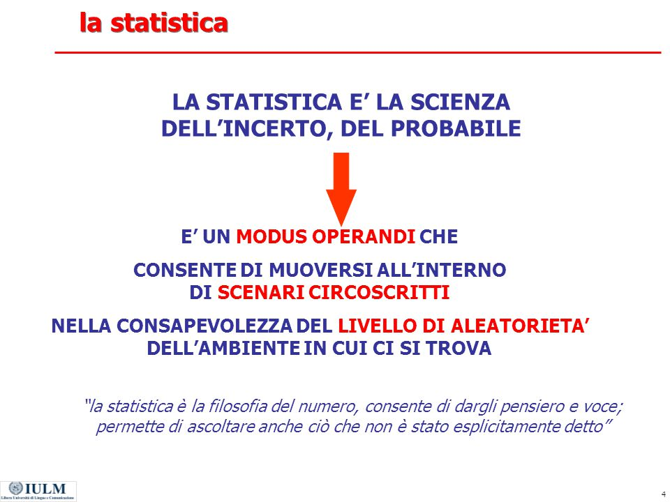 45 analisi fattoriale: gli assunti Prendendo le mosse dalle correlazioni esistenti fra le diverse variabili, l'analisi dei fattori necessita di dati quantitativi.