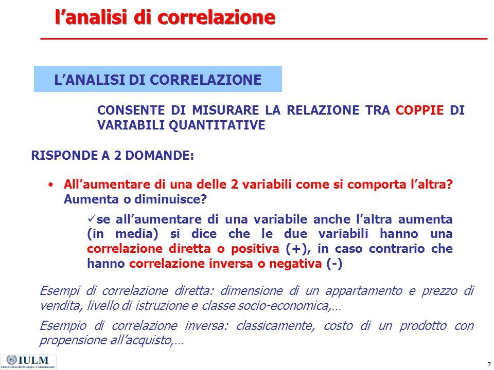 8 Di quanto aumenta/diminuisce una variabile se l'altra variabile aumenta/diminuisce di una unità.