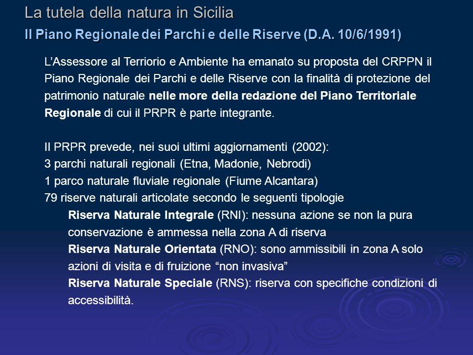 La tutela della natura in Sicilia Il Piano Regionale dei Parchi e delle Riserve (D.A.