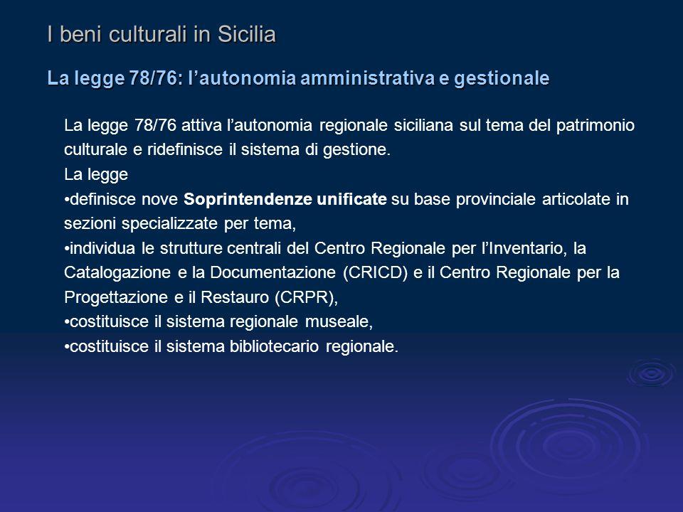 La legge 78/76 attiva l'autonomia regionale siciliana sul tema del patrimonio culturale e ridefinisce il sistema di gestione.