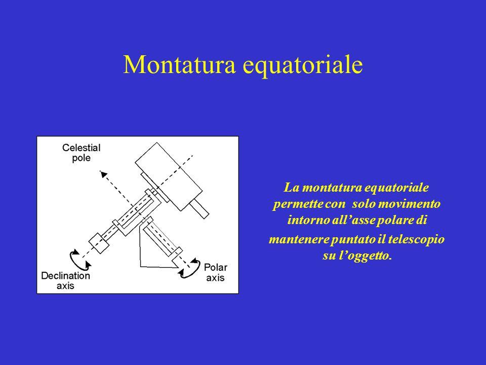 Montatura equatoriale La montatura equatoriale permette con solo movimento intorno all'asse polare di mantenere puntato il telescopio su l'oggetto.