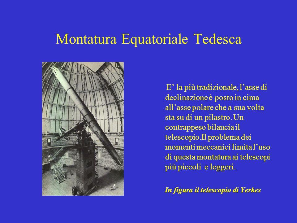 Montatura Equatoriale Tedesca E' la più tradizionale, l'asse di declinazione è posto in cima all'asse polare che a sua volta sta su di un pilastro. Un