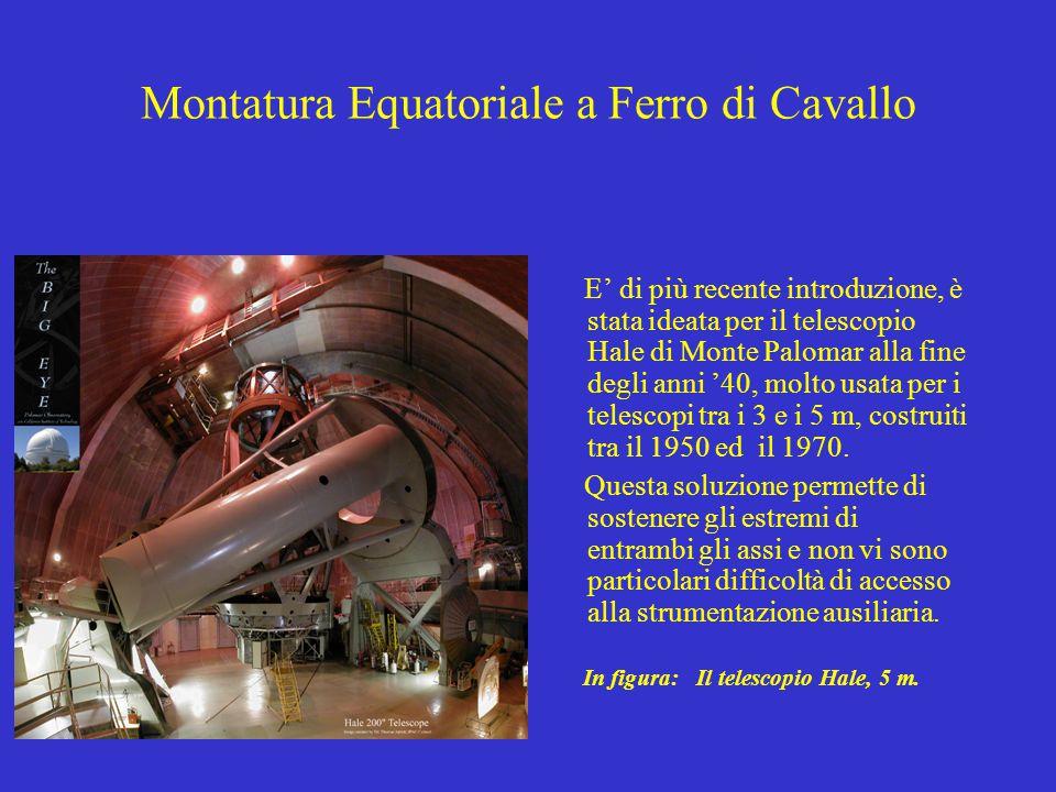 Montatura Equatoriale a Ferro di Cavallo E' di più recente introduzione, è stata ideata per il telescopio Hale di Monte Palomar alla fine degli anni '