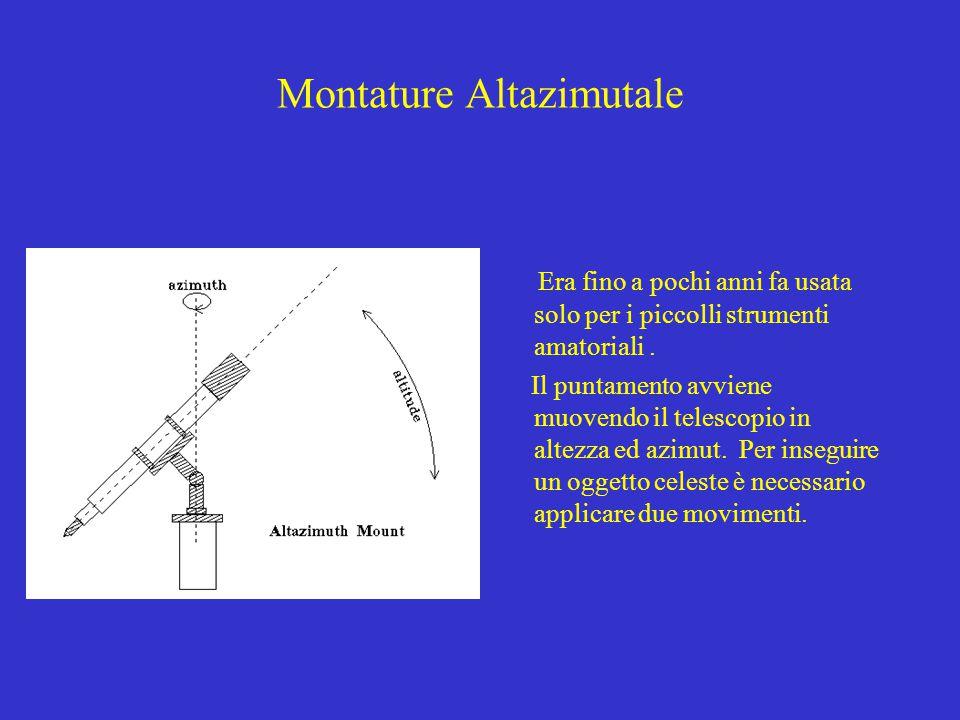 Montature Altazimutale Era fino a pochi anni fa usata solo per i piccolli strumenti amatoriali. Il puntamento avviene muovendo il telescopio in altezz