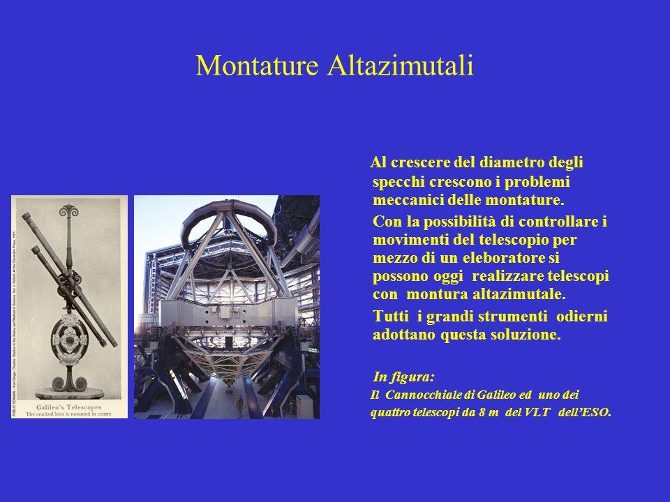Montature Altazimutali Al crescere del diametro degli specchi crescono i problemi meccanici delle montature. Con la possibilità di controllare i movim