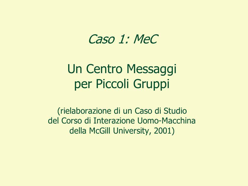 Caso 1: MeC Un Centro Messaggi per Piccoli Gruppi (rielaborazione di un Caso di Studio del Corso di Interazione Uomo-Macchina della McGill University, 2001)
