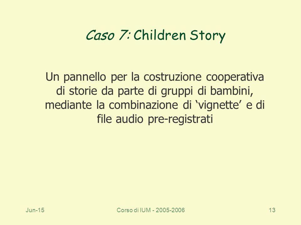 Jun-15Corso di IUM - 2005-200613 Caso 7: Children Story Un pannello per la costruzione cooperativa di storie da parte di gruppi di bambini, mediante la combinazione di 'vignette' e di file audio pre-registrati