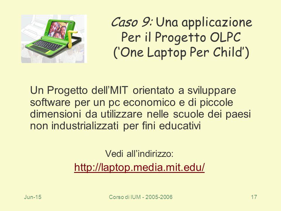 Jun-15Corso di IUM - 2005-200617 Un Progetto dell'MIT orientato a sviluppare software per un pc economico e di piccole dimensioni da utilizzare nelle scuole dei paesi non industrializzati per fini educativi Vedi all'indirizzo: http://laptop.media.mit.edu/ Caso 9: Una applicazione Per il Progetto OLPC ('One Laptop Per Child')