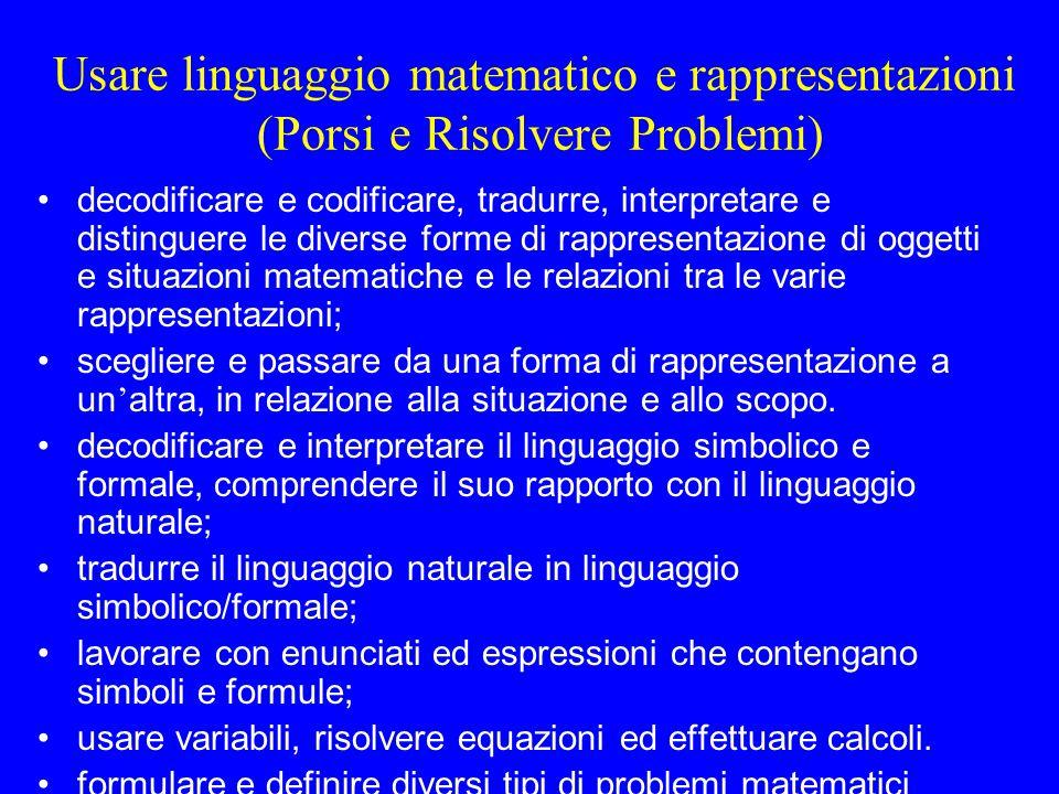 Usare linguaggio matematico e rappresentazioni (Porsi e Risolvere Problemi) decodificare e codificare, tradurre, interpretare e distinguere le diverse