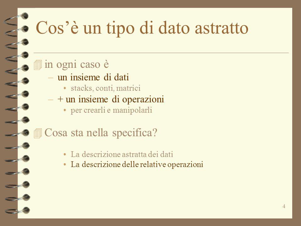 4 Cos'è un tipo di dato astratto 4 in ogni caso è –un insieme di dati stacks, conti, matrici –+ un insieme di operazioni per crearli e manipolarli 4 C