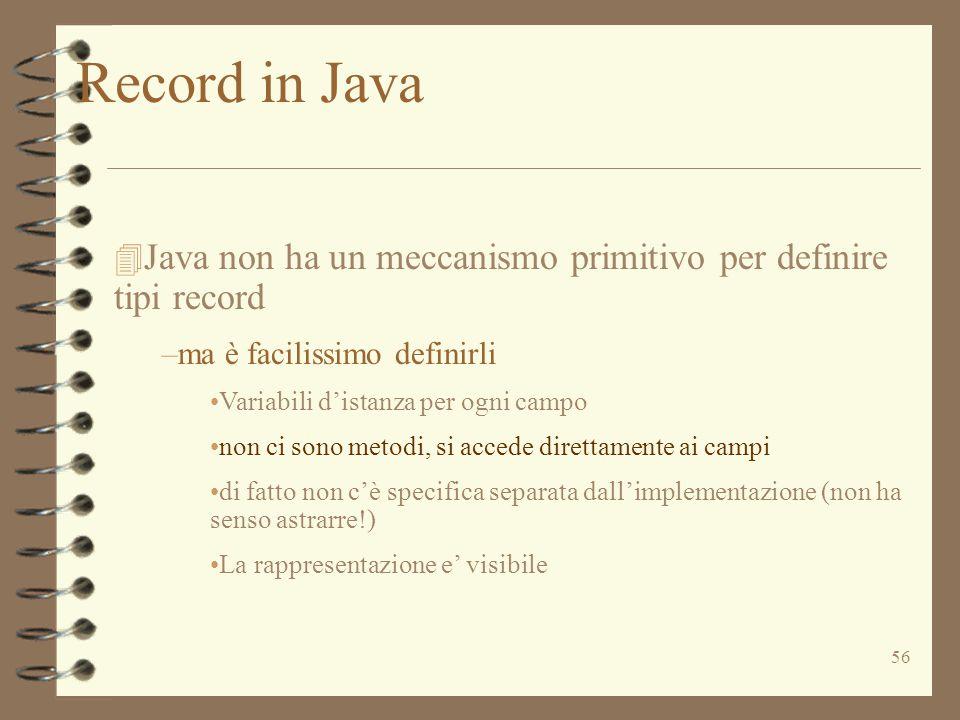 56 4 Java non ha un meccanismo primitivo per definire tipi record –ma è facilissimo definirli Variabili d'istanza per ogni campo non ci sono metodi, s