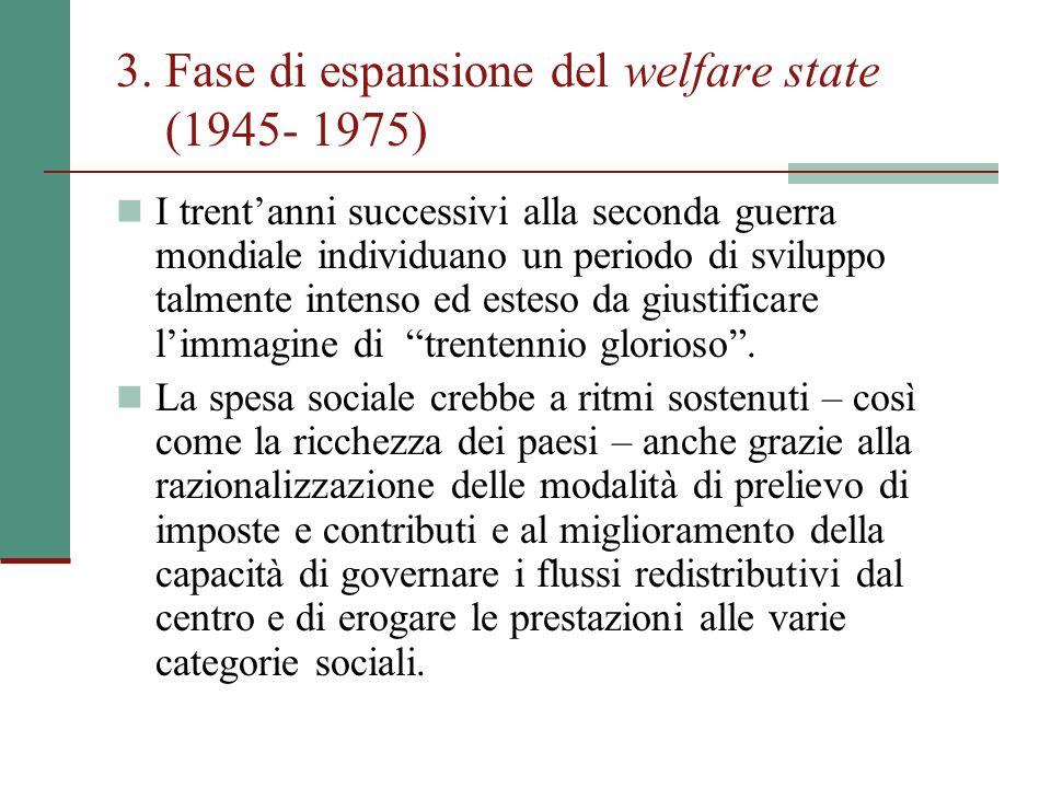 3. Fase di espansione del welfare state (1945- 1975) I trent'anni successivi alla seconda guerra mondiale individuano un periodo di sviluppo talmente