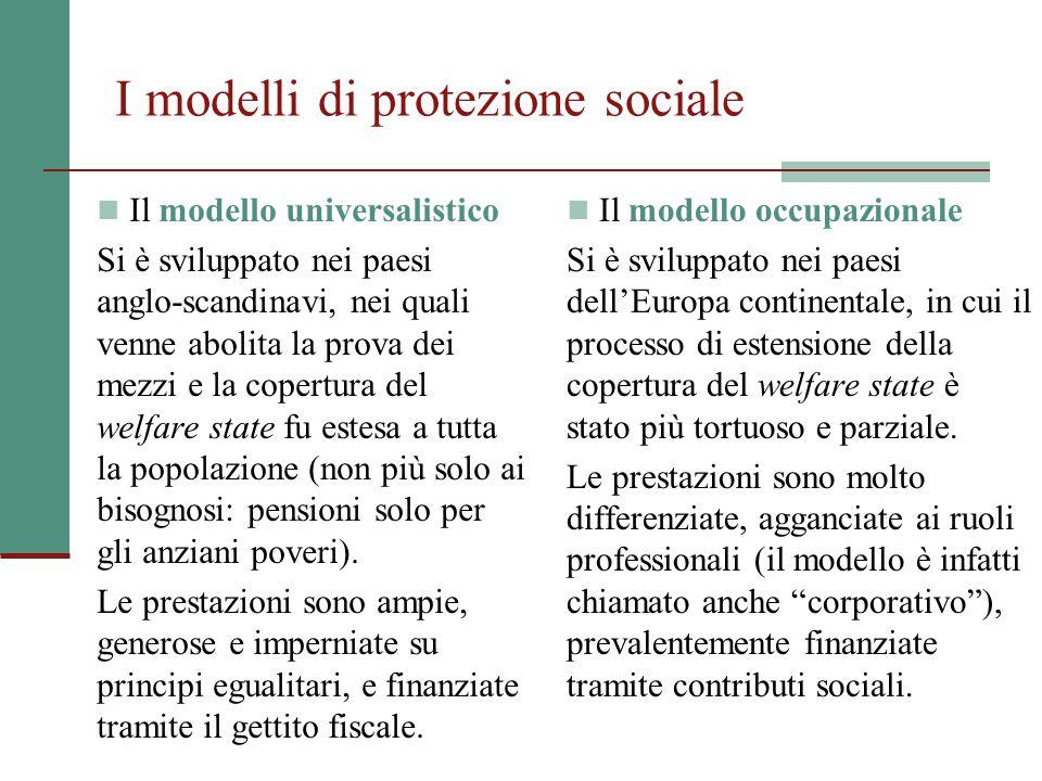 I modelli di protezione sociale Il modello universalistico Si è sviluppato nei paesi anglo-scandinavi, nei quali venne abolita la prova dei mezzi e la