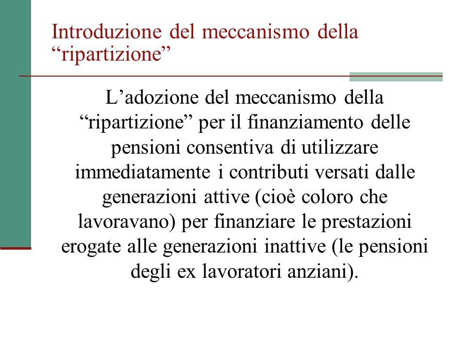 """Introduzione del meccanismo della """"ripartizione"""" L'adozione del meccanismo della """"ripartizione"""" per il finanziamento delle pensioni consentiva di util"""