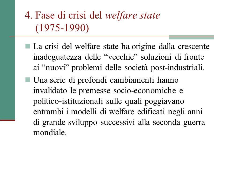 """4. Fase di crisi del welfare state (1975-1990) La crisi del welfare state ha origine dalla crescente inadeguatezza delle """"vecchie"""" soluzioni di fronte"""
