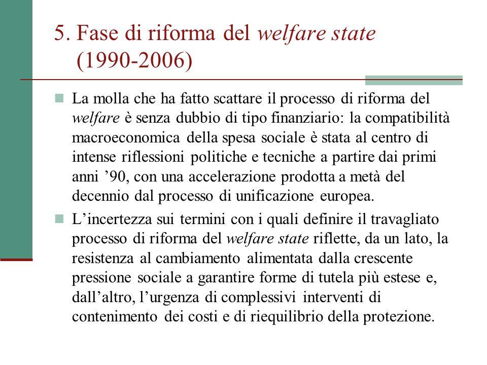 5. Fase di riforma del welfare state (1990-2006) La molla che ha fatto scattare il processo di riforma del welfare è senza dubbio di tipo finanziario: