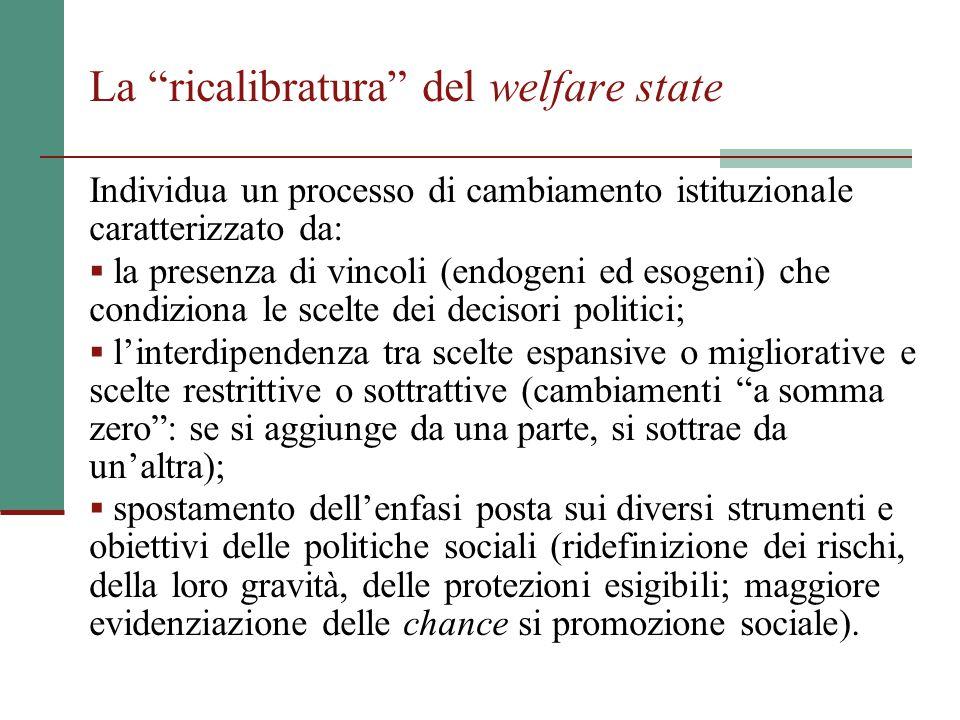 """La """"ricalibratura"""" del welfare state Individua un processo di cambiamento istituzionale caratterizzato da:  la presenza di vincoli (endogeni ed esoge"""