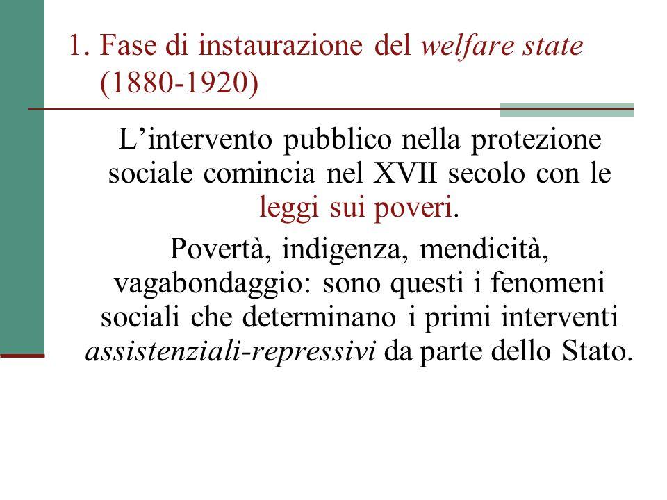 1.Fase di instaurazione del welfare state (1880-1920) L'intervento pubblico nella protezione sociale comincia nel XVII secolo con le leggi sui poveri.