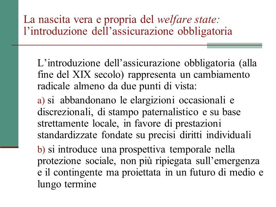 La nascita vera e propria del welfare state: l'introduzione dell'assicurazione obbligatoria L'introduzione dell'assicurazione obbligatoria (alla fine