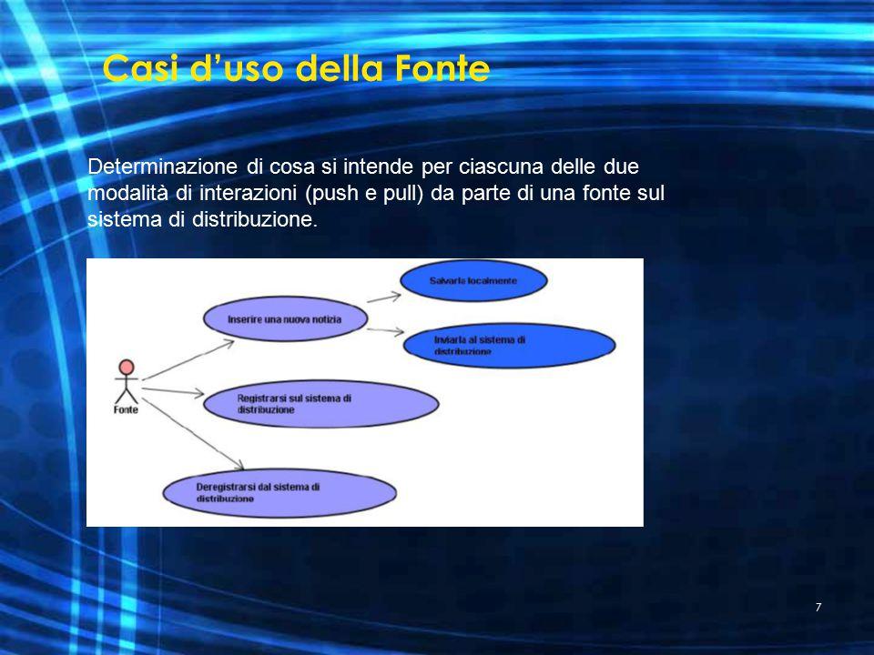 7 Casi d'uso della Fonte Determinazione di cosa si intende per ciascuna delle due modalità di interazioni (push e pull) da parte di una fonte sul sistema di distribuzione.