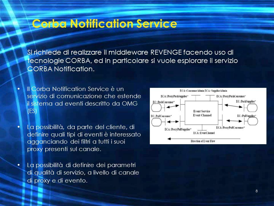 8 Corba Notification Service Il Corba Notification Service è un servizio di comunicazione che estende il sistema ad eventi descritto da OMG (ES) La possibilità, da parte del cliente, di definire quali tipi di eventi è interessato agganciando dei filtri a tutti i suoi proxy presenti sul canale.