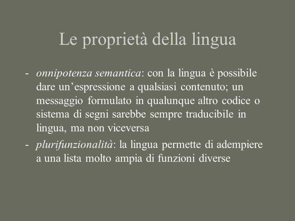 Le proprietà della lingua -onnipotenza semantica: con la lingua è possibile dare un'espressione a qualsiasi contenuto; un messaggio formulato in qualunque altro codice o sistema di segni sarebbe sempre traducibile in lingua, ma non viceversa -plurifunzionalità: la lingua permette di adempiere a una lista molto ampia di funzioni diverse