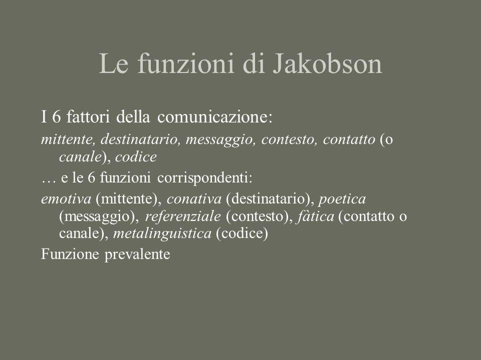 Le funzioni di Jakobson I 6 fattori della comunicazione: mittente, destinatario, messaggio, contesto, contatto (o canale), codice … e le 6 funzioni corrispondenti: emotiva (mittente), conativa (destinatario), poetica (messaggio), referenziale (contesto), fàtica (contatto o canale), metalinguistica (codice) Funzione prevalente