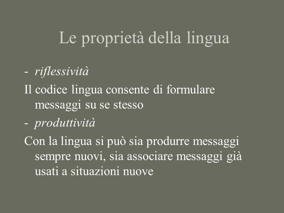 Le proprietà della lingua -riflessività Il codice lingua consente di formulare messaggi su se stesso -produttività Con la lingua si può sia produrre messaggi sempre nuovi, sia associare messaggi già usati a situazioni nuove