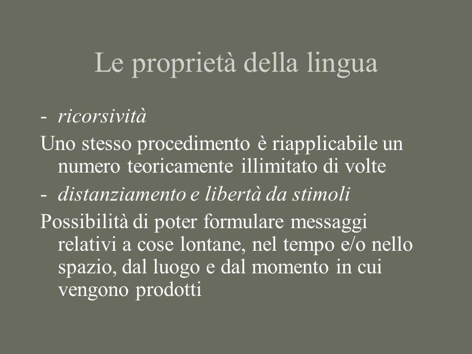 Le proprietà della lingua -ricorsività Uno stesso procedimento è riapplicabile un numero teoricamente illimitato di volte -distanziamento e libertà da