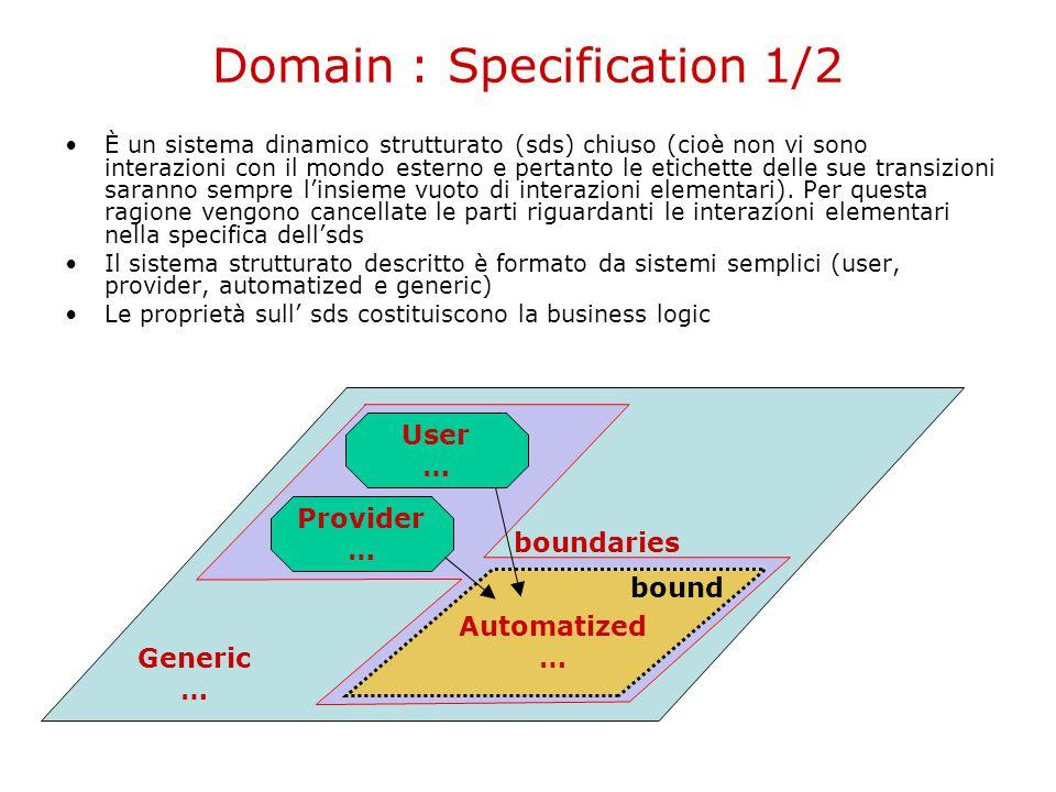 Domain : Specification 1/2 Provider … User … Automatized … Generic … bound boundaries È un sistema dinamico strutturato (sds) chiuso (cioè non vi sono