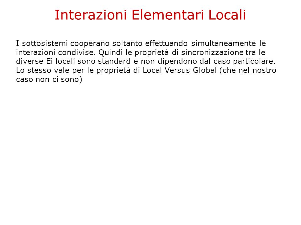 Interazioni Elementari Locali I sottosistemi cooperano soltanto effettuando simultaneamente le interazioni condivise. Quindi le proprietà di sincroniz