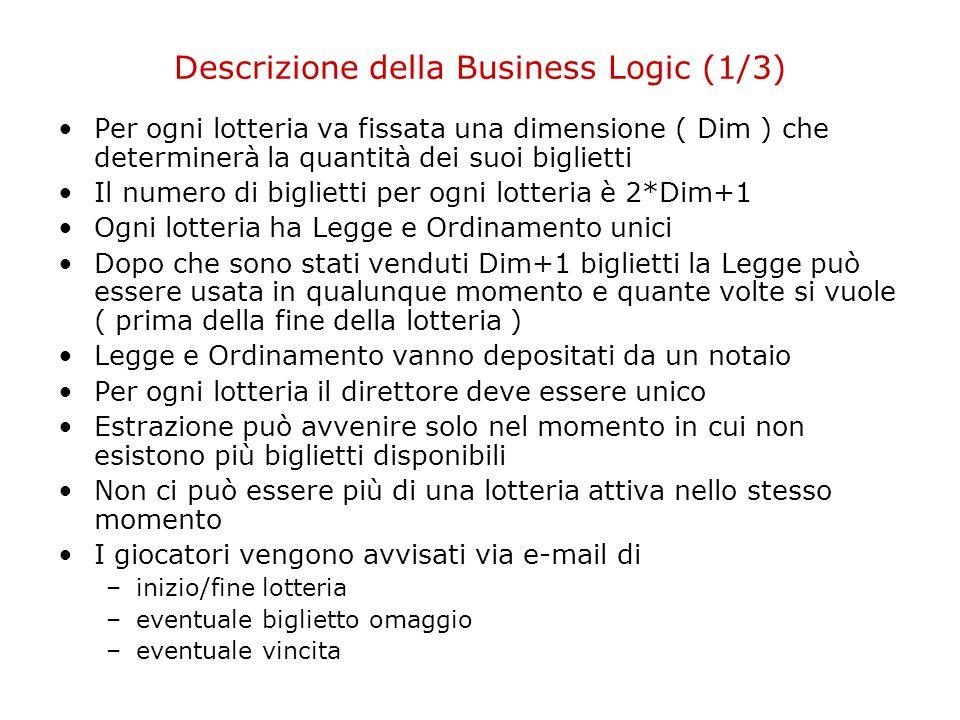 Descrizione della Business Logic (1/3) Per ogni lotteria va fissata una dimensione ( Dim ) che determinerà la quantità dei suoi biglietti Il numero di