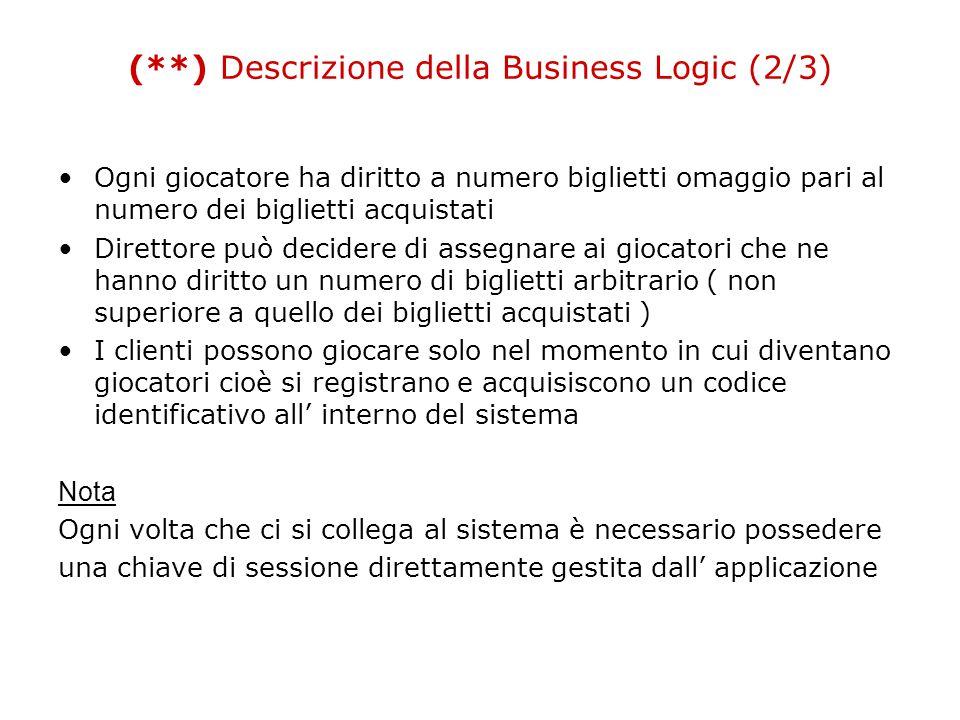 (**) Descrizione della Business Logic (2/3) Ogni giocatore ha diritto a numero biglietti omaggio pari al numero dei biglietti acquistati Direttore può