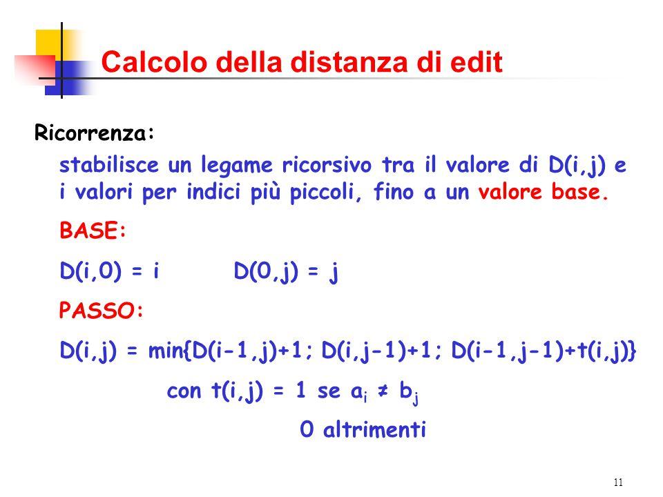 11 Calcolo della distanza di edit Ricorrenza: stabilisce un legame ricorsivo tra il valore di D(i,j) e i valori per indici più piccoli, fino a un valore base.