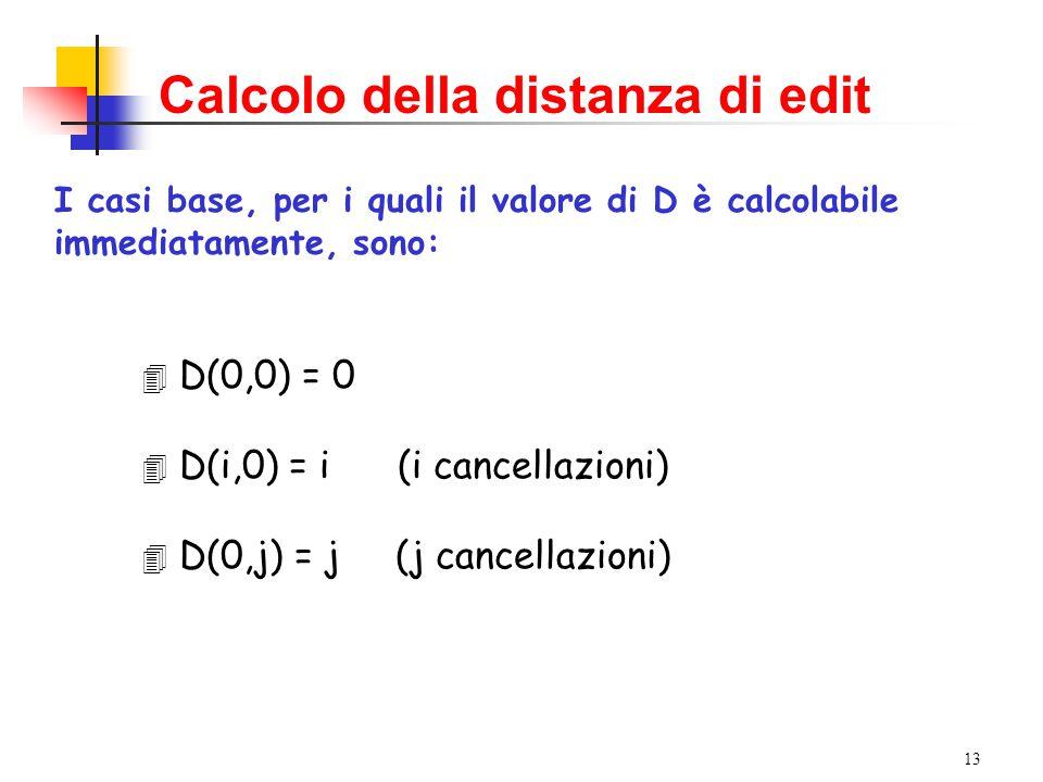 13 Calcolo della distanza di edit I casi base, per i quali il valore di D è calcolabile immediatamente, sono: 4 D(0,0) = 0 4 D(i,0) = i (i cancellazio