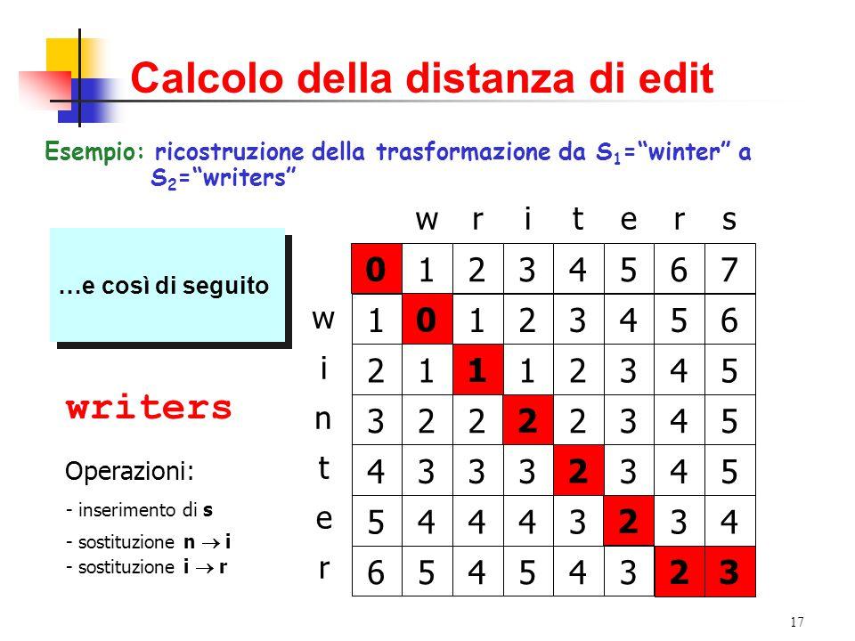 """17 Calcolo della distanza di edit Esempio: ricostruzione della trasformazione da S 1 =""""winter"""" a S 2 =""""writers"""" writers w n t i e r 01234567 1 2 3 4 5"""