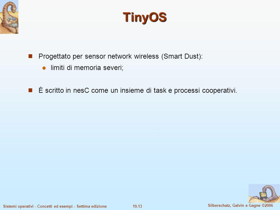 19.13 Silberschatz, Galvin e Gagne ©2006 Sistemi operativi - Concetti ed esempi - Settima edizione TinyOS Progettato per sensor network wireless (Smar