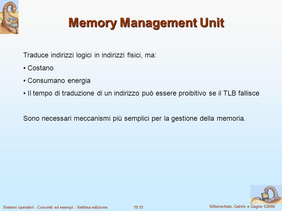 19.15 Silberschatz, Galvin e Gagne ©2006 Sistemi operativi - Concetti ed esempi - Settima edizione Memory Management Unit Traduce indirizzi logici in