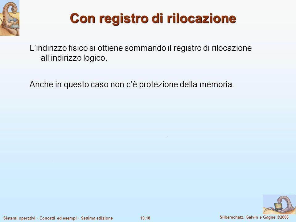 19.18 Silberschatz, Galvin e Gagne ©2006 Sistemi operativi - Concetti ed esempi - Settima edizione Con registro di rilocazione L'indirizzo fisico si o