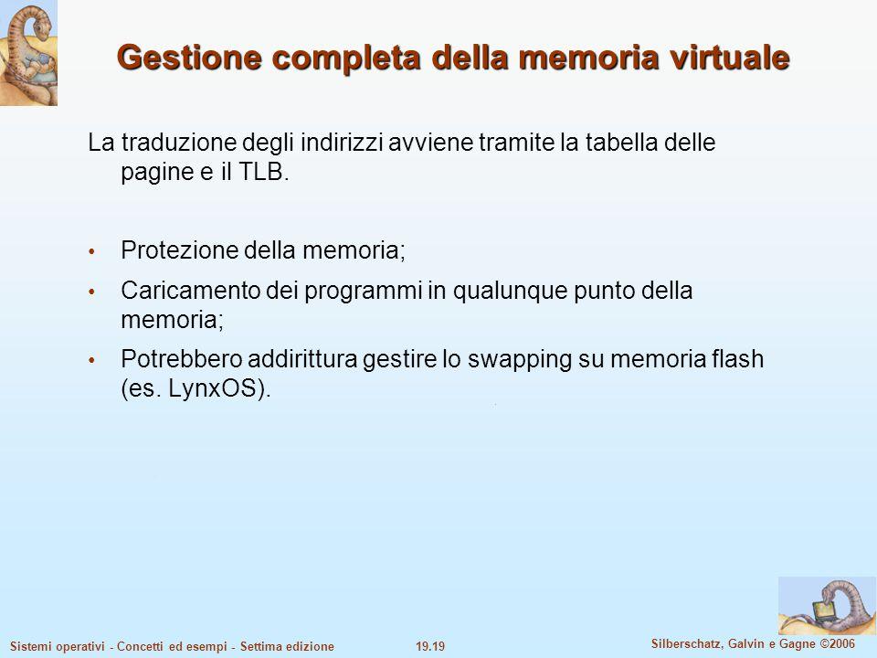 19.19 Silberschatz, Galvin e Gagne ©2006 Sistemi operativi - Concetti ed esempi - Settima edizione Gestione completa della memoria virtuale La traduzi