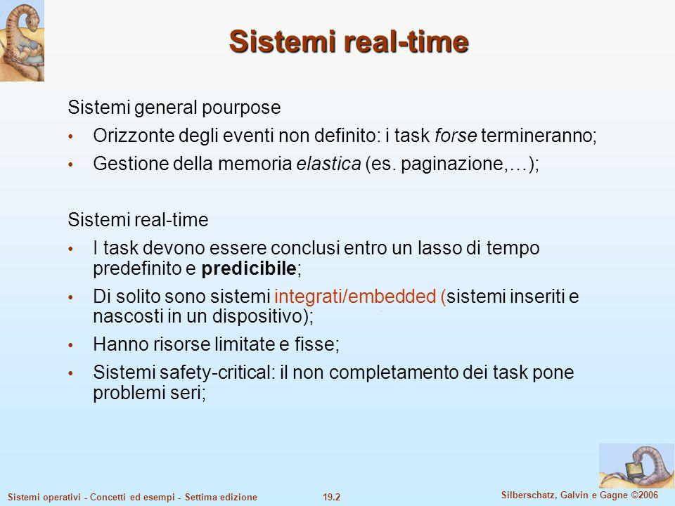19.2 Silberschatz, Galvin e Gagne ©2006 Sistemi operativi - Concetti ed esempi - Settima edizione Sistemi real-time Sistemi general pourpose Orizzonte