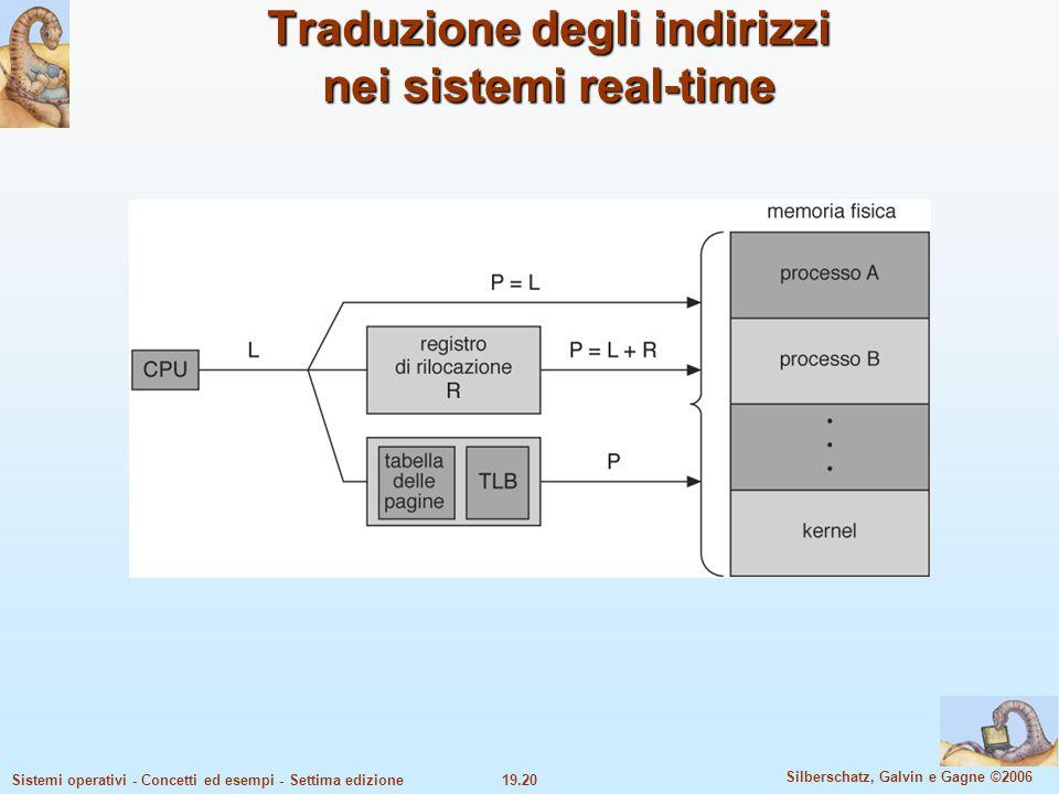 19.20 Silberschatz, Galvin e Gagne ©2006 Sistemi operativi - Concetti ed esempi - Settima edizione Traduzione degli indirizzi nei sistemi real-time