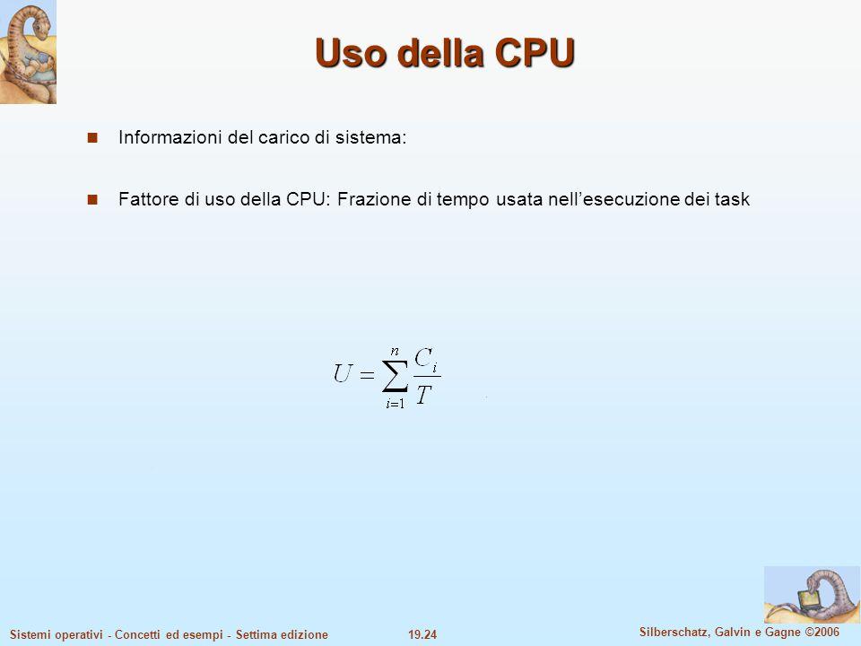 19.24 Silberschatz, Galvin e Gagne ©2006 Sistemi operativi - Concetti ed esempi - Settima edizione Uso della CPU Informazioni del carico di sistema: F