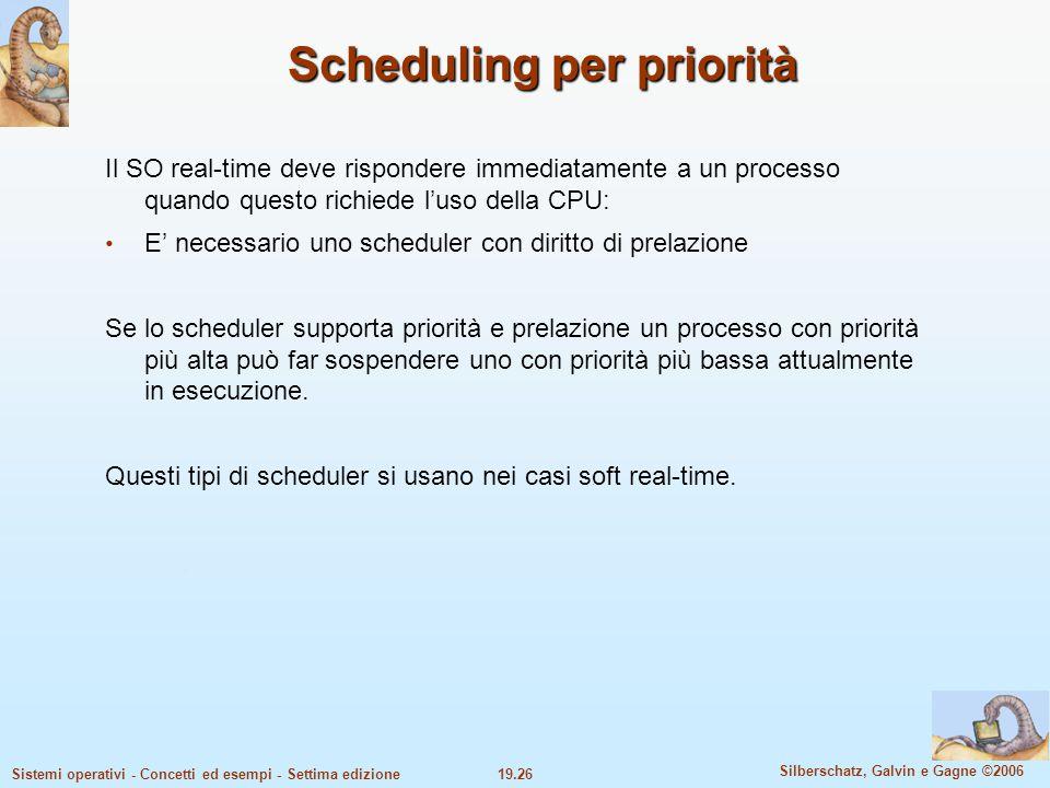 19.26 Silberschatz, Galvin e Gagne ©2006 Sistemi operativi - Concetti ed esempi - Settima edizione Scheduling per priorità Il SO real-time deve rispon