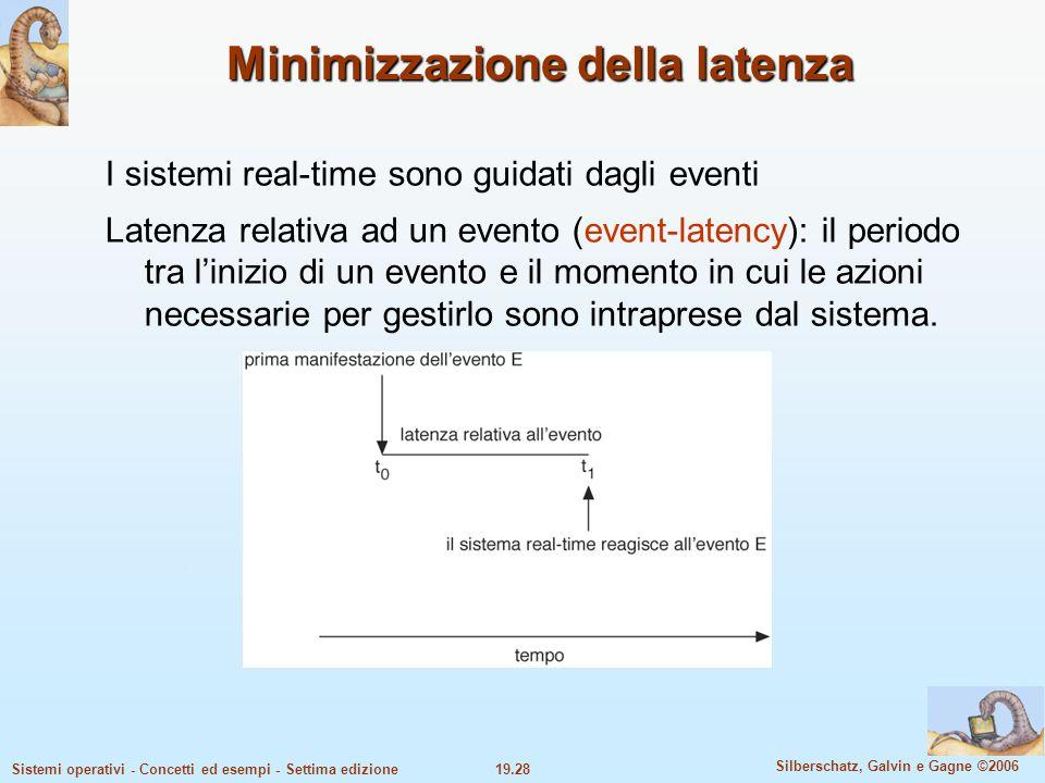 19.28 Silberschatz, Galvin e Gagne ©2006 Sistemi operativi - Concetti ed esempi - Settima edizione Minimizzazione della latenza I sistemi real-time so