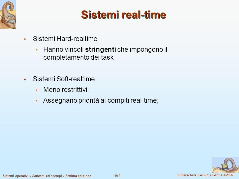 19.3 Silberschatz, Galvin e Gagne ©2006 Sistemi operativi - Concetti ed esempi - Settima edizione Sistemi real-time Sistemi Hard-realtime Hanno vincol