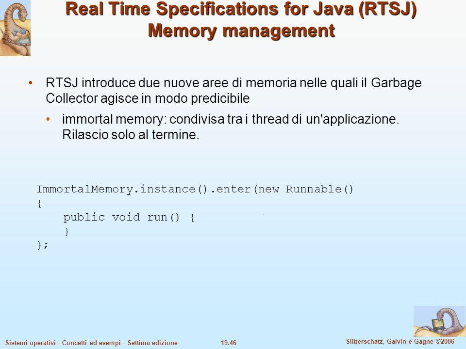 19.46 Silberschatz, Galvin e Gagne ©2006 Sistemi operativi - Concetti ed esempi - Settima edizione Real Time Specifications for Java (RTSJ) Memory man