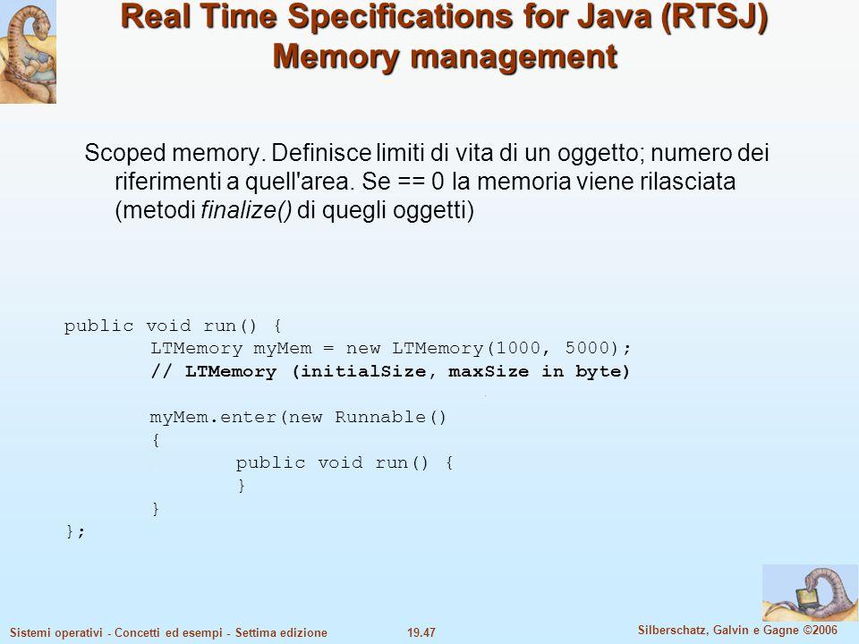 19.47 Silberschatz, Galvin e Gagne ©2006 Sistemi operativi - Concetti ed esempi - Settima edizione Real Time Specifications for Java (RTSJ) Memory man