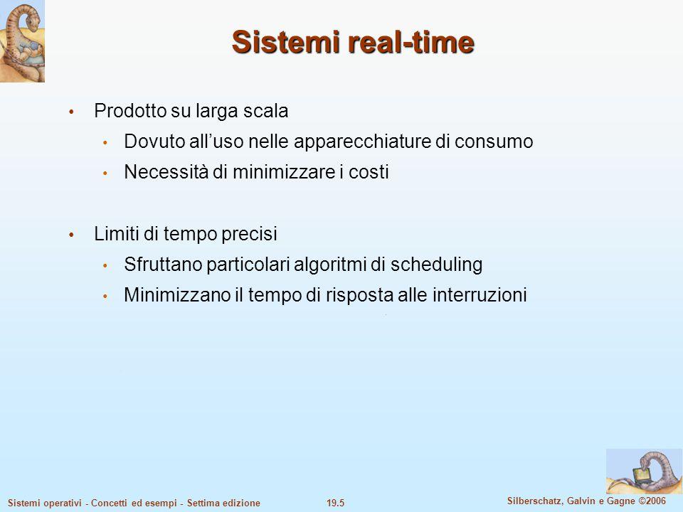 19.5 Silberschatz, Galvin e Gagne ©2006 Sistemi operativi - Concetti ed esempi - Settima edizione Sistemi real-time Prodotto su larga scala Dovuto all